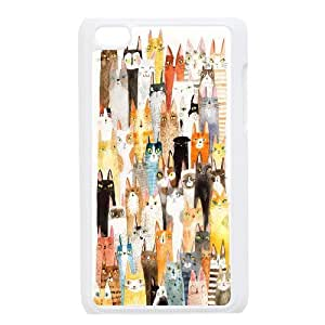 Head Case Designs Yellow and Orange Printed Cats Gel Back Case Cover FOR IPod Touch 4th GHLR-T380365