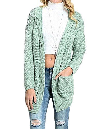 2947c77d6151 Women's Long Sleeve Knitwear Open Front Cardigan Sweaters Outerwear with  Pocket Green S