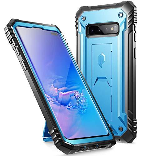 リダクターキリン交差点Galaxy S10 Plus ケース、ギャラクシーs10+ 専用 2019最新製品、耐衝撃、スタンド機能、Samsung携帯カバー、防塵、Poetic Samsung 2019 Revolution Case、ブルー