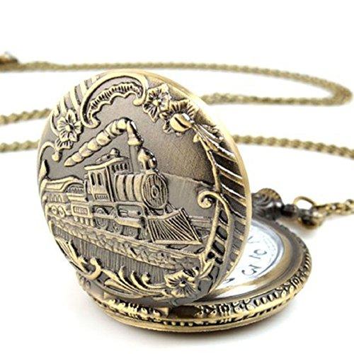 Sandistore Antique Case Vintage Brass Rib Chain Quartz Pocket Watch Train