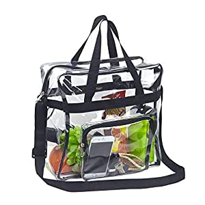 "Magicbags Clear Tote Bag Stadium Approved,The Clear Bag with Adjustable Shoulder Strap and Zipper Closure is Perfect for Work,School,Sports Games and Concerts-12"" X 12"" X 6"", unisex-adult (luggage only), Magicbags Clear Tote Bag Stadium Approved,Adjustable Shoulder Strap and Zippered Top,Stadium Security Travel & Gym Clear Bag, Perfect for Work, School, Sports Games and Concerts-12 x12 x6, Black, No Size"