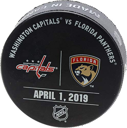 (Florida Panthers Game-Issued Warm-Up Puck vs. Washington Capitals on April 1, 2019 - Fanatics Authentic Certified )