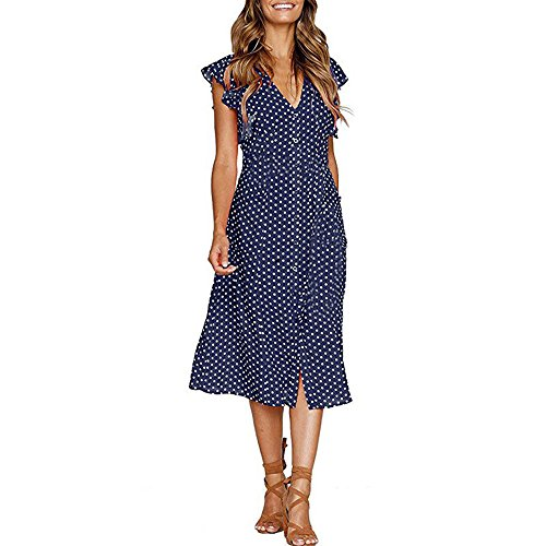 PENGYGY Women Dot Dot Print Maxi Dress Sleeveless Casual Summer Long Maxi Casual Elegant Lace Vintage Polka Dots ()
