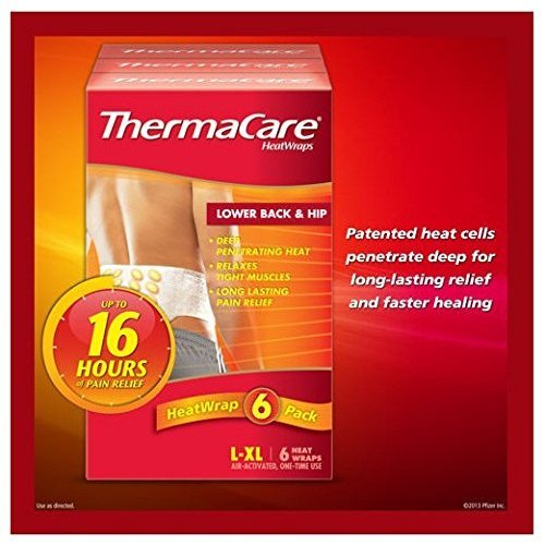 Thermacare Air Activated Heat Wraps - 6 Back / Hip One-time Use Wraps - Size L/xl ()