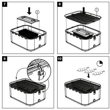 Gril à charbon de bois portable dessus de table gril carré gril sans fumée allumage de 3-4 minutes pour barbecue, barbecue extérieur