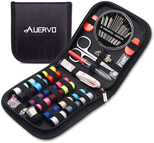 Mini Travel Sewing Kit, AUERVO DIY Premium Sewing Supplies,Basic Sewing equipment for Adults,Beginners,Home,Emergency Filled with Repair equipment and Sewing Needles,Thread,Scissors,Thimble,Tape Measure and many others