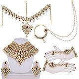 Lucky Jewellery Designer Maroon CZ Stone Alloy Bridal Set