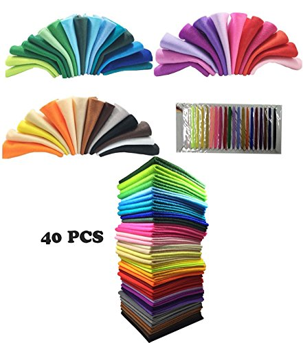 40pcs 1.4mm Thick Soft Assorted Felt Sheets,Rainbow Colorful Felt Sheets DIY Crafts Polyester Blend Felt Fabric,Felt Fabric Sheet,Nonwoven Fabric Sheets,Felt with Matching Threads (30X30 - Wool Felt Thread