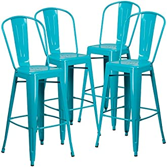 Flash Furniture 4 Pk. 30'' High Crystal Teal-Blue Metal Indoor-Outdoor Barstool with Back