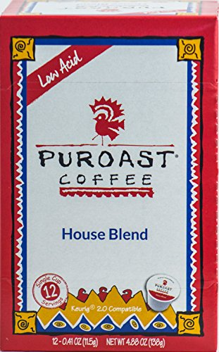 Puroast Low Acid Coffee House Blend Single Serve Coffee, Keurig Compatible, 4.87 Ounce