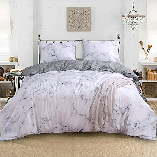 (Smoofy 3 Piece Duvet Cover Set, Marble Luxury Quilt Cover 100% Cotton Comfortable Bedding Sets with Zipper)