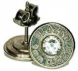 9mm Bullet Ear Posts Palladium Plated w/ Swarovski Crystals (BLAZER)