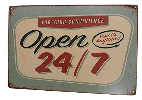 Open 24 7 Funny Tin Sign Bar Pub Garage Diner Cafe Home Wall Decor Home Decor Art Poster Retro Vintage