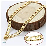 Gold Chain Necklace 7mm Diamond Cut FIGARO Chain 24K 30X Thicker Than Any Overlay USA Made.