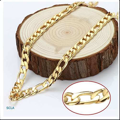 Gold Chain Necklace, Men Chains, Large FIGARO Chain 24K Gold Plated Thicker Than Any Overlay with a WARRANTY USA Made Gold Figaro Necklace For Men, Hip Hop Fashion Jewelry for men, Jewelry Chain (28)