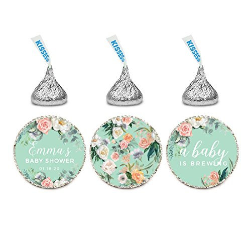 - Andaz Press Peach Mint Green Floral Garden Party Baby Shower Collection, Personalized Chocolate Drop Label Stickers Trio, 216-Pack, Custom Name, Fits Hershey's Kisses Party Favors