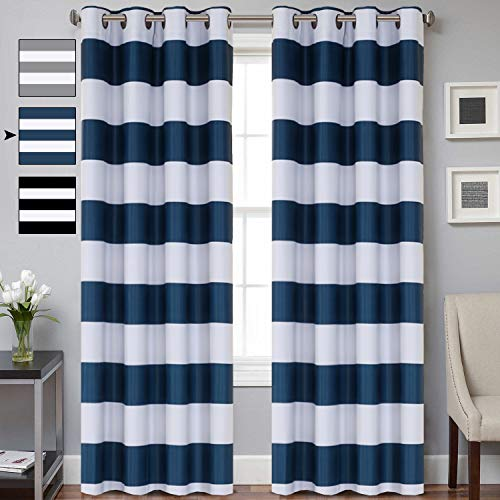dow Curtain Panel Pair with Grommet Top Navy and White Stripes Curtain Panels Thermal Insulated Blackout Window Treatment Panels for Bedroom/Living Room, 52