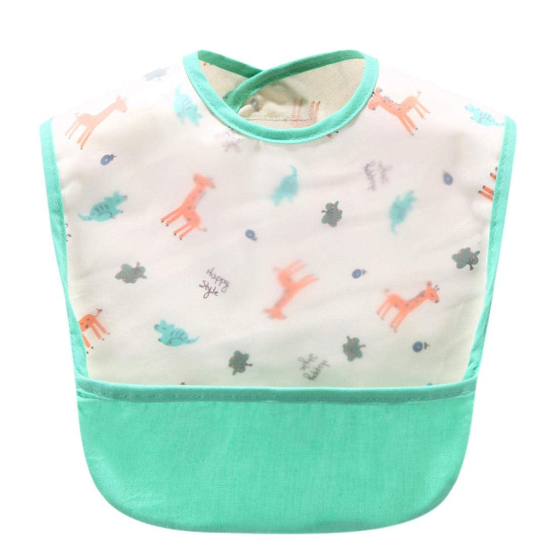 Cute Kids Waterproof Bibs Vest Easily Wipes Clean Comfortable Soft Baby Feeding Saliva Dripping Bibs Quick Drying Food Grade Material Bibs Bacteria Resistant for Infants Toddlers (P) Y56(TM)