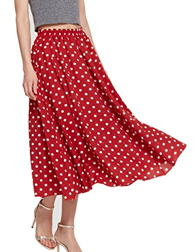 Women's Long Dots Print Maxi Chiffon Polka Long Vintage Skirts (C002Red-M)