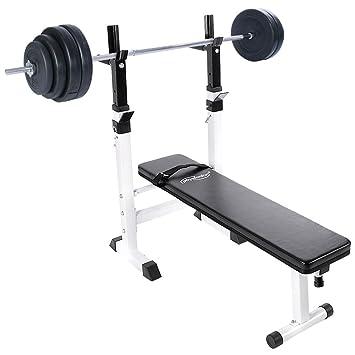 Physionics - Banco de entrenamiento plegable y multifuncional (con barra larga y pesas de 60 kg) - aprox. 117/58/91-106 cm: Amazon.es: Deportes y aire libre