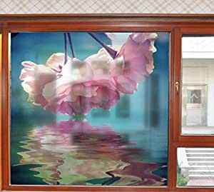 Restroom frosted glass floral sticker bathroom window sticker waterproof opaque translucent home decor-ek