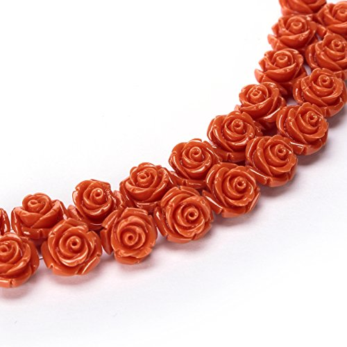 BRCbeads Top Quality 15mm ORANGE Synthetic Turquoise Carved Rose Howlite Coral Flower Carving Loose Beads 15 pcs per Bag For Jewelry Making