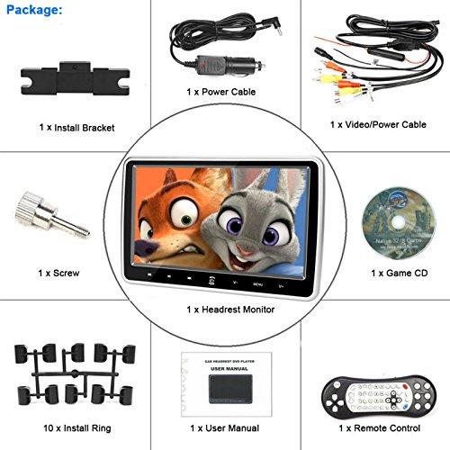 10.1 Inch HD 1024 x 600 HDMI USB SD IR/FM Ultra Thin Digital Touch Key LCD Screen Car DVD Player Headrest Monitor by Hengweili by Hengweili (Image #6)