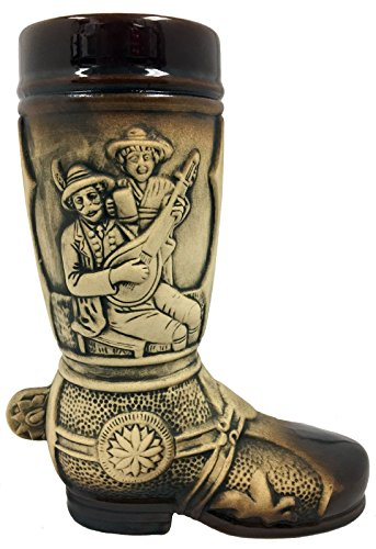 Drinking Scenes Brown Relief German Beer Stein Boot .5 L Made in Germany