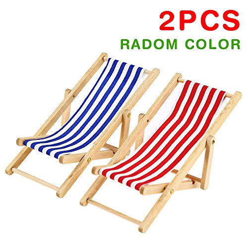 2PCS 1:12 Miniature Dollhouse Foldable Wooden Beach Chair Chaise Longue Toys with Stripe Red/Blue - House Outdoor Furniture Accessories