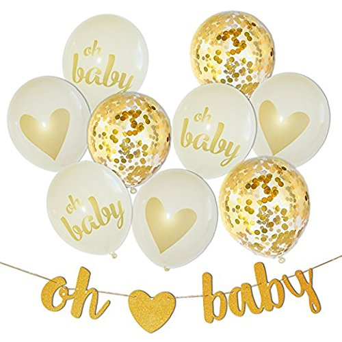 Baby Shower Decorations Neutral Decor Strung Banner, (OH BABY) Balloon Set (Gold, Confetti, White) Kit Set, Hang on Wall,Glitter Unisex