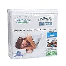 Matthem Classic Hypoallergenic Smooth Waterproof Mattress Encasement Protector Queen Size