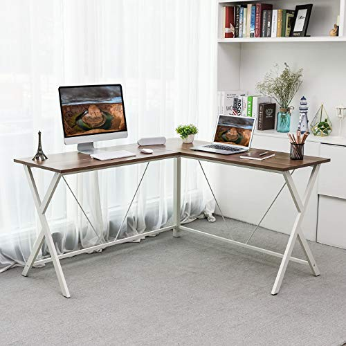 VASAGLE L-Shaped Computer Desk, Corner Office Writing Desk, Gaming Workstation, Sturdy Metal Frame, Easy Assembly, Tools and Instructions Included 57.1''x 51.1'' x 29.9'' ULWD70WH by VASAGLE (Image #1)