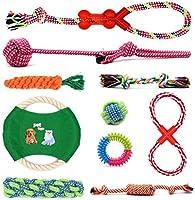 犬ロープおもちゃ 犬おもちゃ 噛むおもちゃ 犬用玩具 ペット用 コットン ストレス解消 運動不足解消 セット 耐久性 頑丈 歯磨き 清潔 小型犬・中型犬に適応 (10個 セット)