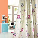 1 Panel Cartoon Print Owl Room Darkening Silver Grommets Curtain for Children Kids' Room (39'' by 63'',Palm Green)