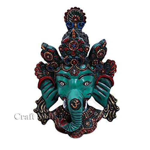 CraftVatika Ganesh Wall Mask, Himalayan Vintage Style Ganesha Wall Hanging, Mahakal Shiva (Buddha Mask)