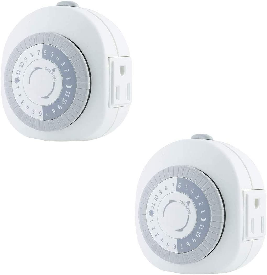 GE 24-Hour Heavy Duty Indoor Plug-In Mechanical Timer 2pk, 1 Grounded Outlet, 30 Minute Intervals, Daily On/Off Cycle, for Lamps, Portable Fans, Seasonal Lighting, Appliances, UL Listed, 46139