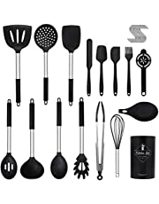 ELECTRAPICK Kitchen Utensil Sets Stainless Steel 26 Pcs Cooking Utensils Silicone Kitchen Tools & Gadgets Include Turner Tongs Spatula Spoon with Hooks for Nonstick Pan Heat Resistant Cookware