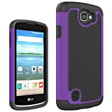 MOONCASE LG K4 Case, Hybrid Silicone Skin Case [Shock Absorption] Durable Dual Layer 2 in 1 Anti-Slip TPU Case Cover for LG K4 Purple