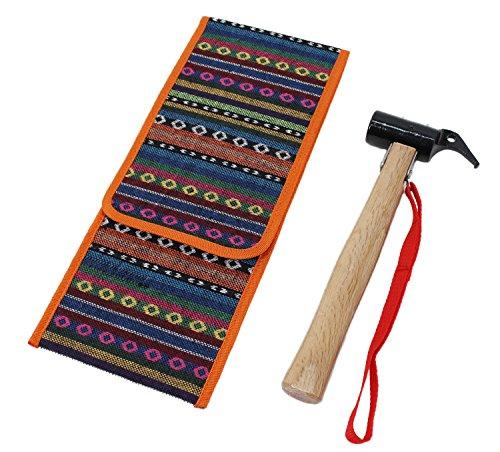 コロニーインフルエンザ採用するペグハンマー スチール ヘッド 木製 ハンドル アウトドア ハンマー 専用袋付き