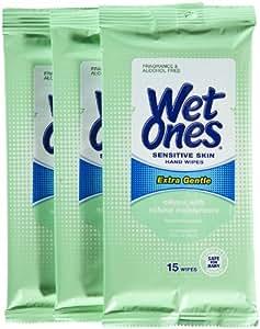 Wet Ones Moist Towelette For Sensitive Skin, Travel Pack, 15-Count (3 pack)