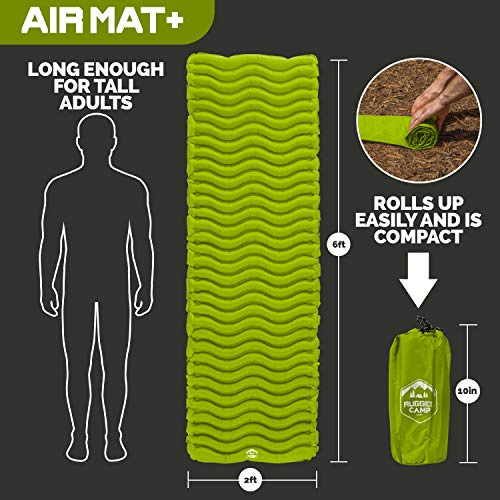 Rugged Camp Air Mat+ Camping Sleeping Pad - Ultralight 17.2 OZ - Best Inflatable Sleeping Air Mattress for Backpacking, Hiking, Traveling – Lightweight & Compact Camp Sleep Pad (Air Mat+ Green)