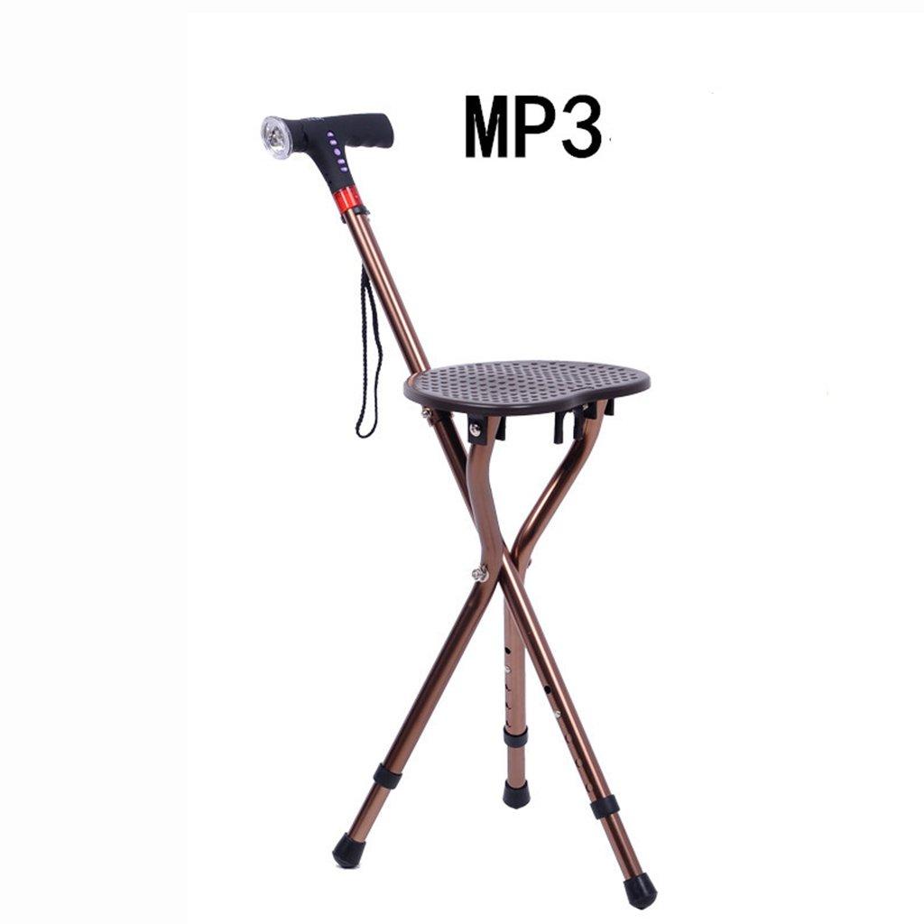 調節可能な折りたたみ椅子チェアスツールスツールマッサージの松葉杖とポータブル釣りスツールMP3ポータブル多機能ケーンチェア (版 ばん : Radio) B07CVPV4G6 Radio  Radio