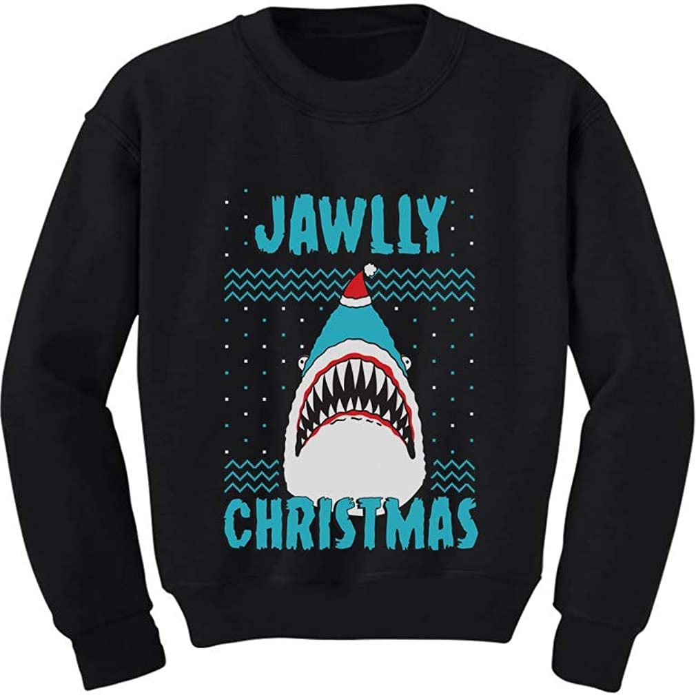 Jawlly Christmas Ugly Xmas Sweater Party Shark Youth Kids Sweatshirt