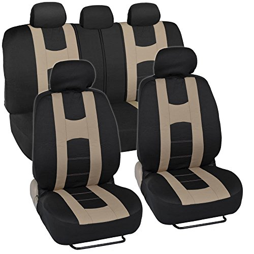 BDK Rome Sport Auto Seat Covers for Car SUV Truck Van - Front & Rear Bench Covering Set, Universal Fit, Split Bench 11 Pieces (Black & (Split Front Bench Seat)