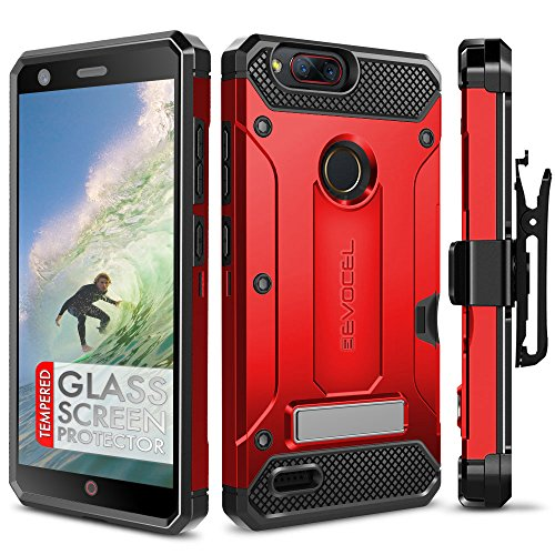 ZTE Blade Z Max Case, Evocel [Explorer Series Pro] Premium Dual Layer Credit Card Case with Glass Screen Protector  Magnetic Kickstand for ZTE Sequoia/ZTE Blade ZMax (Z982), Red