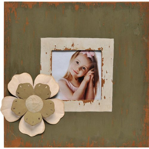 Metal Picture Frame with Layered Flower Magnet Memorabilia Holder, Holds a 4 by 4-Inch Photo, Distressed Dark Green and Whitewash ()