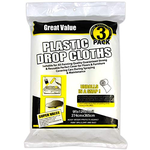 Heavy Duty Multi use 3 Rolls 9×12 inch,Paint Roller,Drop Cloth,Plastic Drop Cloth,Work for Paint Roller,Paint Drop Cloth,1MIL Clear Plastic Drop Cloth,Drop Cloths for Painting, Home Repair Tools