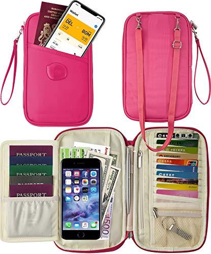 - Travel Wallet & Family Pink Passport Holder Neck Pouch RFID Blocking- Document Organizer Case