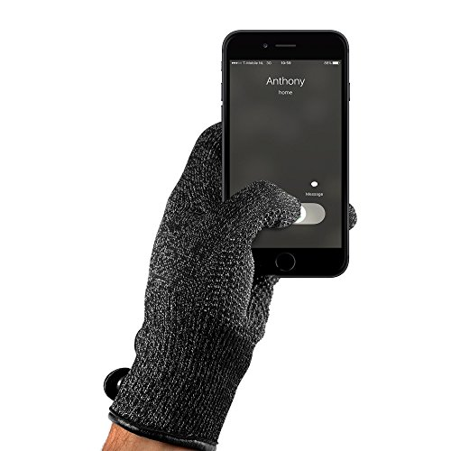 Mujjo Double Layered Touchscreen Winter Gloves| Knitted Smartphone Texting Gloves with Leather Cuffs, Magnetic Snap Closure & Anti-Slip Grip (Small)