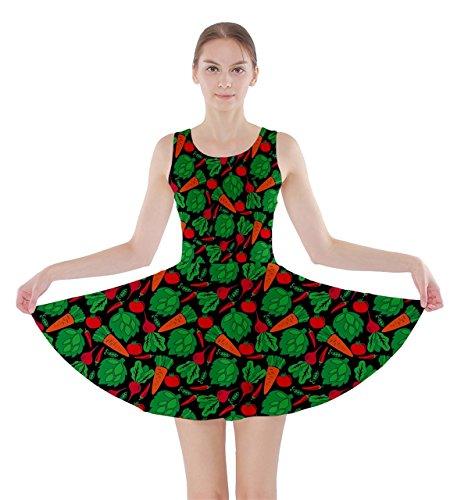 cowcow-womens-black-vegetable-pattern-skater-dress-black-m